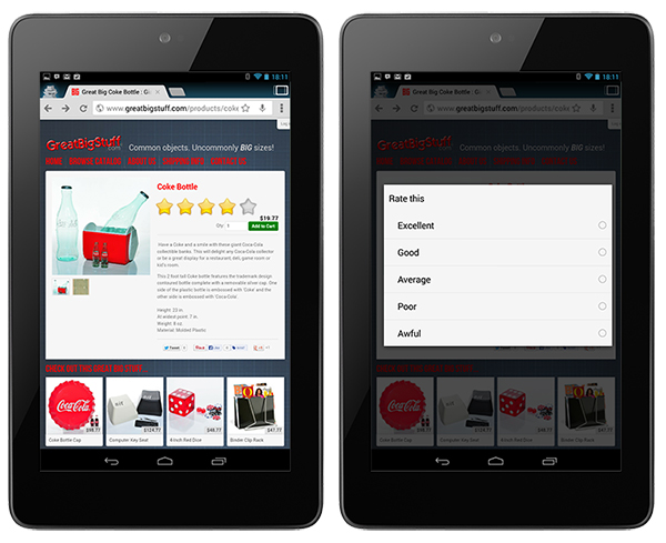 Rating-Widget on Android Nexus 7